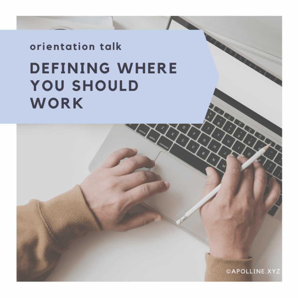 COVER ARTICLE « Defining where you should work » title on written on a picture - by Apolline Rigaut